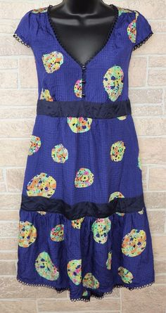 488260767c0a6 Anthropologie Maeve Lighthouse Route Dress Blue Floral Silk Tiered Womens  12 #Anthropologie #Tiered #Casual
