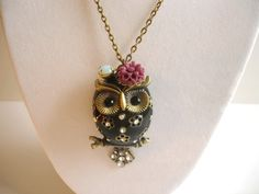 3D Chubby Owl Necklace Black by charmsarang on Etsy