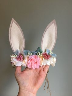 Bunny Flower Crown, Photo Prop, Baby Tieback Bunny Crown, Baby Flower Crown, Newborn Headband, Girls Flower Crown, Eater Bunny by masonandharlow on Etsy