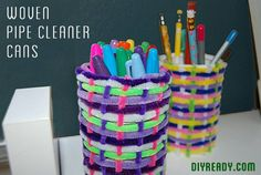 Easy, Cheap Homemade Kids Crafts Woven Pipe Cleaner Cans | DIY Ready's Ingeniously Easy DIY Projects To Entertain Kids