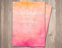 Hochzeit Einladung - Pink und Orange Aquarell abstrakt Einladung - druckbare digitale Datei