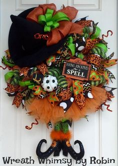 Halloween Deco Mesh Witch Wreath in Lime, Orange Black, Fall Wreath, Witch Decor, Front Door Wreath, Witch in Skirt