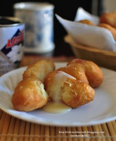 Fried Dough with Condensed Milk for Thai Breakfast