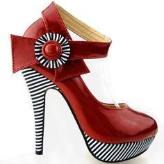 Show Story Wine Red Flower Ankle Strap Stripe Stiletto High Heel Platform Pumps,LF30404RD40,9US,Red