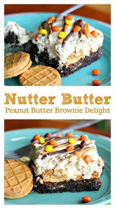 Nutter Butter Peanut Butter Brownie Delight- Youll completely be obsessed with heavenly bites of scrumptious Peanut Nutter Butter Cookies, creamy peanut butter fluff and rich, fudgy brownie delightfulness in my Nutter Butter Peanut Butter Brownie Delight! Peanut Butter Desserts, Peanut Butter Brownies, Köstliche Desserts, Chocolate Desserts, Delicious Desserts, Dessert Recipes, Chocolate Lovers, Mint Chocolate, Chocolate Cake