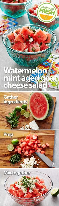 Yes please! The sweetness of juicy fresh watermelon, the unmistakable tartness of aged goat cheese, the coolness of mint, and the citrusy punch of lime, all in one dish. You have to make this!