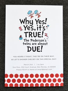 Thing 1 & Thing 2 Baby Shower Invitation by tulaandtwig on Etsy, $15.00