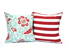 One floral and one striped pillow covers, cushion, decorative throw pillow, coral pillow, 18x18, light blue pillow, Red Pillow by ThatDutchGirlPillows on Etsy