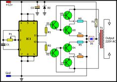 How to build Inverter Circuit Schematic - circuit diagram Dc Circuit, Circuit Diagram, Circuit Board, Hobby Electronics, Electronics Components, Electronics Projects, Electronic Engineering, Electrical Engineering, Electronic Art