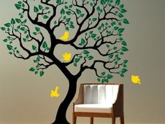 Green Tree Murals in Modern Home