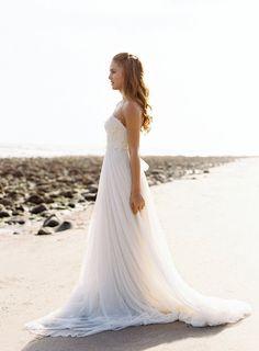Lace Wedding Dress Chiffon Bridal Dress Ivory by MiLanFashion