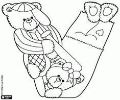 Coloriage Deux ours sportives et la lettre V