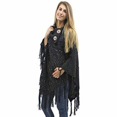 Luxury Divas Black Cable Knit Turtleneck Poncho With Sequins  Long Fringe ** You can get additional details at the image link.