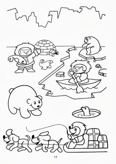 coloring page, free printable Coloring Pages Winter, Animal Coloring Pages, Coloring Books, Colouring, Polo Norte, Winter Activities, Kindergarten Activities, Winter Fun, Winter Theme