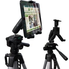 Universal HDX Tablet Camera Zoom Video Record Periscope Conference Tripod Holder Mount with Dual Swivel Adjust Joint for Tablets like Apple iPad Pro Air Mini, Galaxy Tab S E A & Surface Galaxy Tab S, Samsung Galaxy, Tablet Holder, Ipad Stand, Google Nexus, Cool Tech, Microsoft Surface, Video Camera, Ipad Air