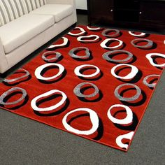 Found it at Wayfair Supply - DonnieAnn Company Hollywood Red Geometric Small Double Circle Area Rughttp://www.wayfairsupply.com/DonnieAnn-Company-Hollywood-Red-Geometric-Small-Double-Circle-Area-Rug-H285RD-QDY1744.html?refid=SBP
