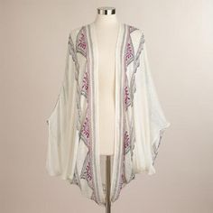anthropologie look without the anthropologie price - white frayed kimono jacket with embroidery #worldmarket