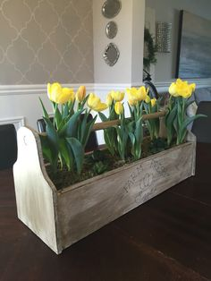 vintage toolbox centerpiece, container gardening, diy, gardening, woodworking projects - My Easy Woodworking Plans Old Tool Boxes, Wood Tool Box, Wooden Tool Boxes, Wooden Box Centerpiece, Table Centerpieces, Table Decorations, Centrepiece Ideas, Spring Decorations, Wedding Decorations