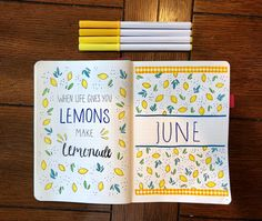 June cover page ~When life gives you LEMONS make LEMONADE #Junecoverpage #bulletjournaling #bulletjournal #monthlycoverpage