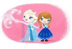 Li'l Anna & Elsa - gratutiously inspired by Mary Blair ;)