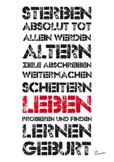 LEBEN (lesen von unten nach oben) TypoProjekt