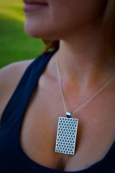 """Fitbit One pendant / necklace - Rectangle """"Honeycomb"""" Silver tone with pearlized grey leather"""