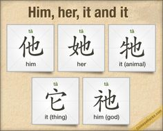 "Him, her, it and it - learn the various characters for ""ta1"" - with beginner sentences."