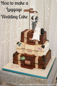 The perfect tutorial for how to make a realistic distressed luggage wedding cake. Clear video tutorial showing all the steps for distressing fondant.