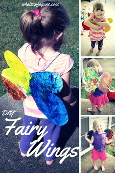 Tutorial for DIY Toddler Fairy WIngs craft for kids. Super easy, just using things around the house.