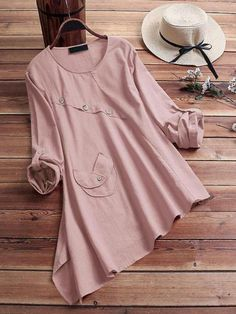 Vintage Asymmetrical Crew Neck Long Sleeve Blouse look not only special, but also they always show ladies' glamour perfectly and bring surprise. Kurti Designs Party Wear, Kurta Designs, Blouse Designs, Modest Outfits, Casual Dresses, Fashion Dresses, Kurta Neck Design, Western Dresses, Muslim Fashion