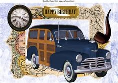 1948 Blue and Tan Woody in a map frame A4 on Craftsuprint - Add To Basket!