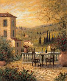 Tuscan View For Two - McNaughton Fine Art Company Cool Landscapes, Landscape Paintings, Tuscan Art, Tuscany Landscape, Under The Tuscan Sun, Fantasy Forest, Photography Pics, Landscape Quilts, Illustration