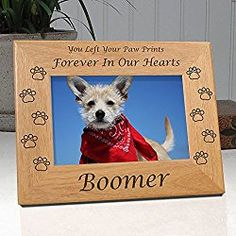 Personalized Dog Memorial Engraved Wood 4x6 Picture Frame with Choice of Quotes (Quote 2)