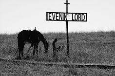 The Praying Cowboy   (metal sculpture) by Kansas Explorer 3128, via Flickr