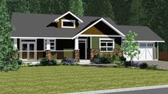 Bungalow Style House Plans - 1537 Square Foot Home , 1 Story, 2 Bedroom and 2 Bath, 2 Garage Stalls by Monster House Plans - Plan 32-108