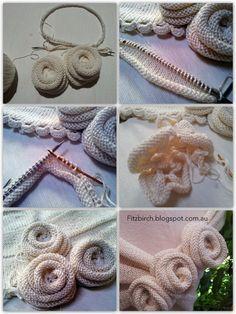 brei-werkjes tot bloemen maken FitzBirch Crafts: Tutorial for knitted roses for a Summer Rose Capelet Knitting Designs, Knitting Projects, Crochet Projects, Knitting Patterns, Crochet Patterns, Flower Patterns, Knitting Stiches, Loom Knitting, Hand Knitting