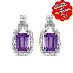 14k White Gold 1.56 Ct Emerald-cut Amethyst & Natural Diamond Earrings by JewelryHub on Opensky