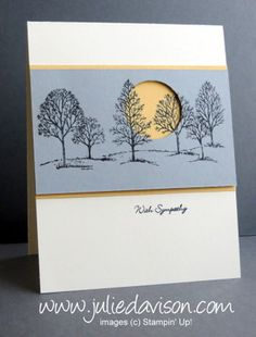 Check out the video tutorial on my blog: http://juliedavison.blogspot.com/2015/01/aw33-lovely-as-tree-sympathy-card.html Visit my blog for more Stampin' Up! project ideas http://juliedavison.com