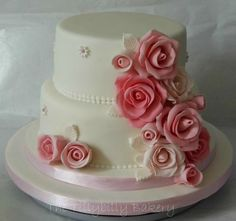 Pink floral wedding cake - by TheTillybillyBakery @ CakesDecor.com - cake decorating website