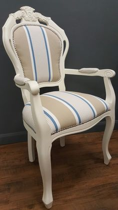 French style chair upholstered and painted with Annie Sloan Chalk Paint by Love Restored.