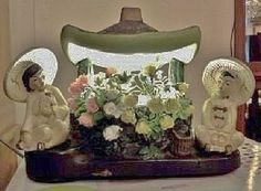 Rare-Vintage-1954-1st-Version-Silvestri-Chalkware-Wishing-Well-Oriental-Tv-Lamp