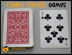 Continuing on from yesterday's post on other ways to help your students recall the times tables, here I share with you a fun times tables card game. Card Turnover This game is for 2 players. You wi. Math Card Games, Fun Math Games, Math Activities, Learning Games, Dice Games, Word Games, Times Tables Games, Table Games, 5th Grade Math Games