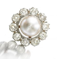 An Antique Natural Pearl and Diamond Brooch, circa 19th century