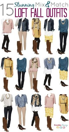 Style for over 35 ~ Mix and Match Fall Outfits from the Loft with this year's hot colors mustard, mauve, and cobalt blue.