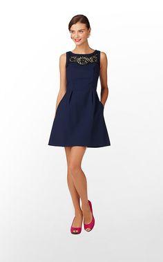 Emmy Dress in True Navy Soutache Trim $268 (w/o 9/15/12) #lillypulitzer #fashion #style