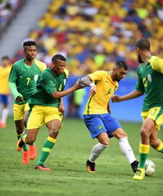 #RIO2016 Gabriel Barbosa of Brazil competes during the men's group A football match between Brazil and South Africa at the 2016 Olympic Games in Brasilia...