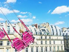 The swings at the Jardin des Tuileries Summer Carnival . If you're in Paris over the summer months, there's no other way to see the city than from the swings! A 360-degree view!