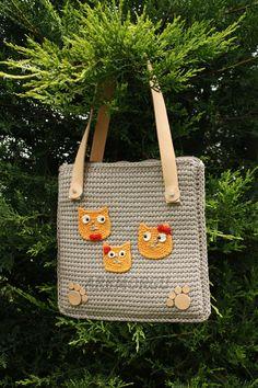 shoulder bag leather handle bag with cat motifs
