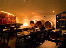 Wine Cellar feel to the dinning area achieved with LED tape and down lighters Led Tape, Top Restaurants, Light Project, Downlights, Wine Cellar, Lighting Design, Wall Lights, Bar, Home