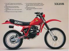 1982 US Model Sales Brochure. Only ever saw one in parts, not as a complete bike. Always wanted one of these, but was even luckier to own a Kawasaki for a short time instead. Enduro Vintage, Vintage Bikes, Vintage Motorcycles, Honda Dirt Bike, Honda Bikes, Enduro Motorcycle, Motorcycle Posters, Honda Motorcycles, Cars And Motorcycles